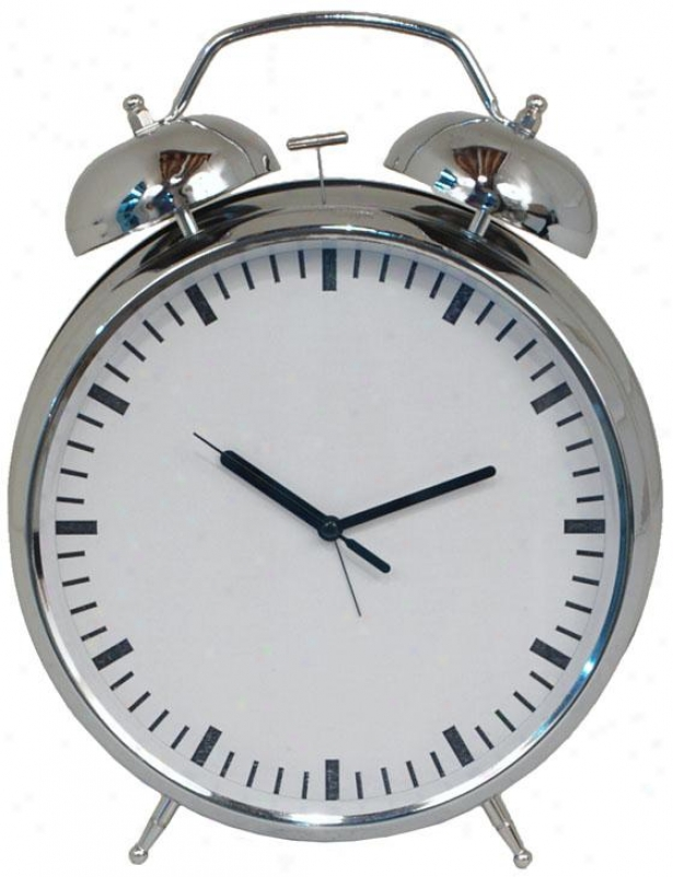 """owen Chrome Finish Alarm Clock - 12hx8.5wx3.25""""d, Silver Chrome"""