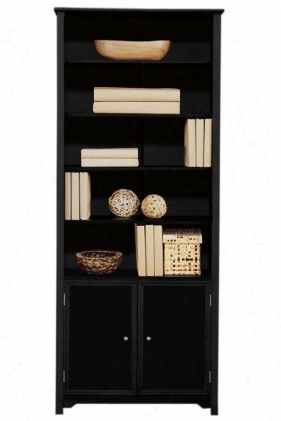 """""""oxford Single Bookcase With Cabinet - 72""""""""hx30""""""""w, Black"""""""