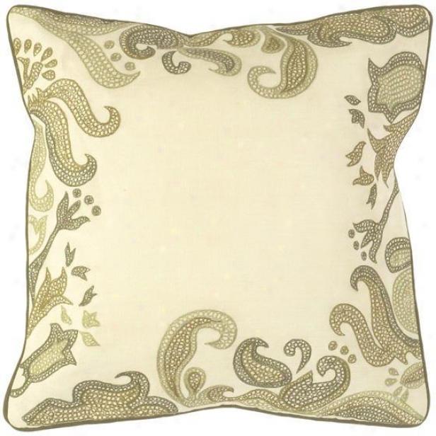 """paisley Bordered Pillows - Plant Of 2 - 18""""x17"""", Ecru/dark Olive"""