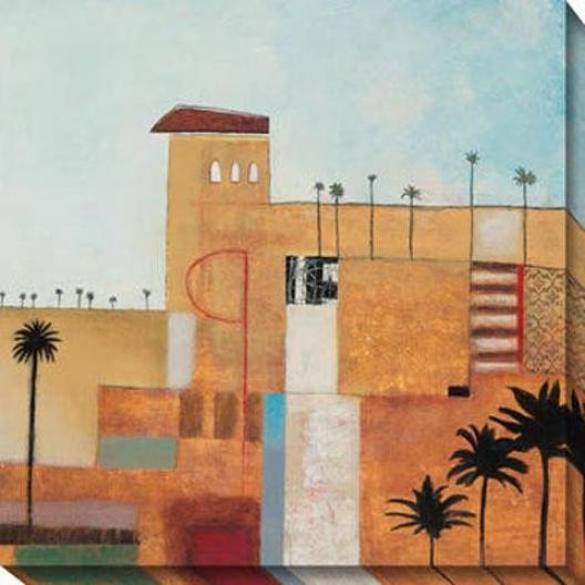 """palm Oasis Canvas Wall Art - 40""""yx40""""w, Multi"""
