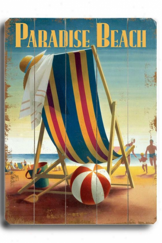 """paradise Beach Chair Wooden Sign - 20""""h X 14""""w, Multi"""