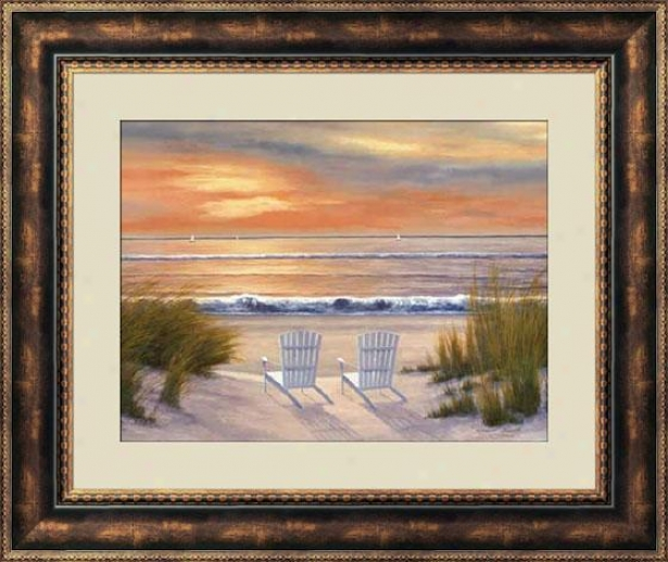 """paradise Sunset Framed Wall Art - 28""""hx22""""w, Brown"""