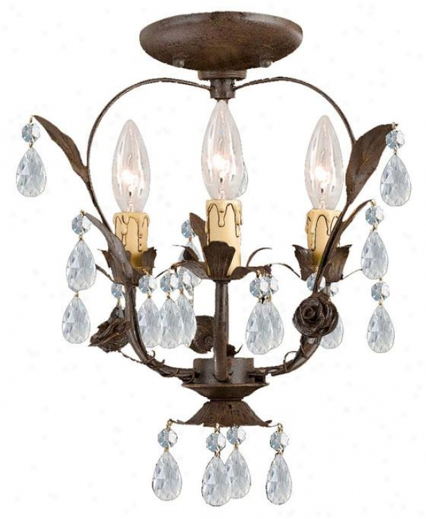 """paris 12""""w Flea Market Flush Prepare - 3-light, Tan"""