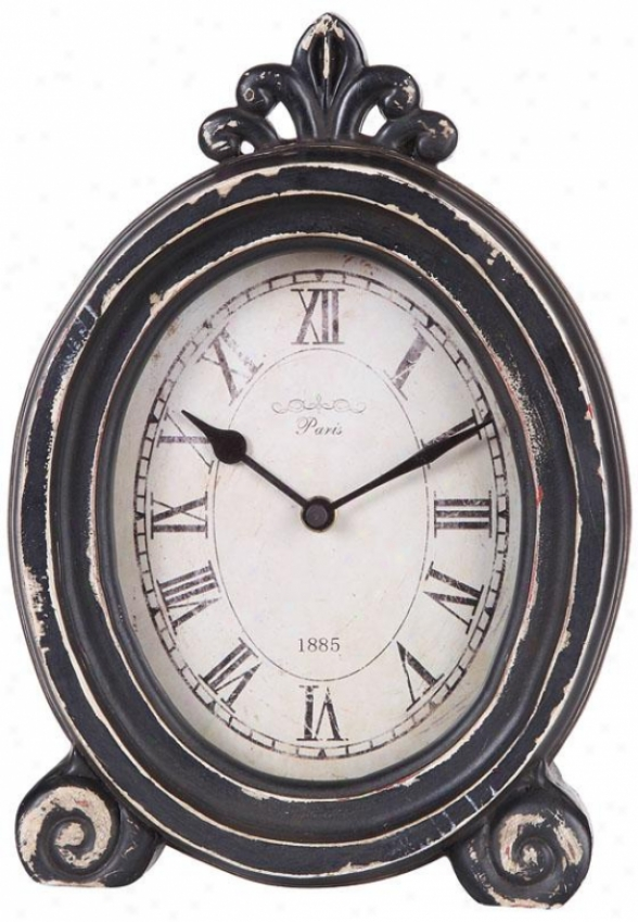 """paris 1885 Distressed Desk Clock - 7.87x2.37x11""""h, Black"""