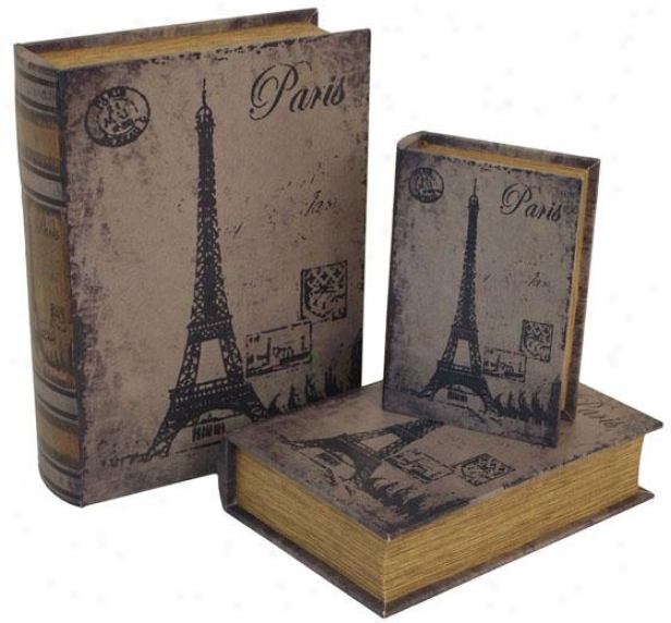 Paris Book Bpxes - Set Of 3 - Set Of Three, Distressed