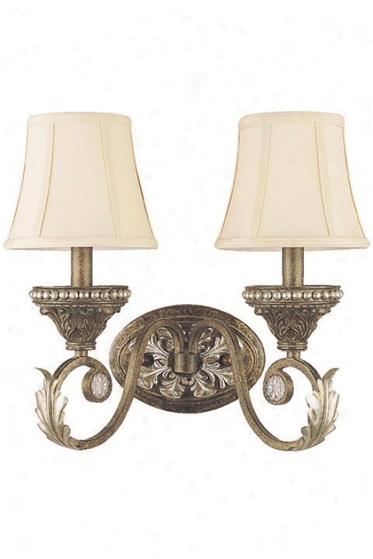 """paris Flea Two- Light Wall Sconce - 12""""hx14""""w, Brown Metal"""