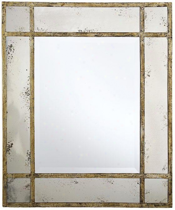 """paris Mansion  Antiqued Gold Wall Mirror - 34.75""""hx30.75""""w, Gold"""