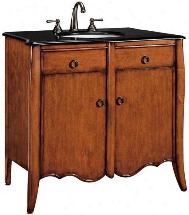 """parisian Bathroom Vanity - 35""""hx37""""w, Tan Wood"""