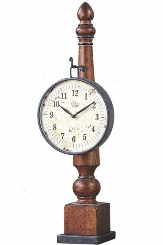 """parker Clock - 25""""hx8""""wx6.5""""d, Brown"""
