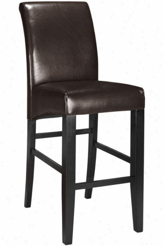 """parsons Rolled-back Leather Bar Stool - 47""""h, Coffee Brown"""