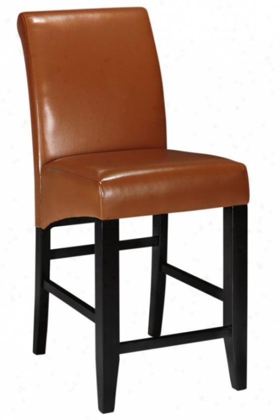 """parsons Rolled-backk Leather Reckoner Stool - 41""""h, Coffee Brown"""