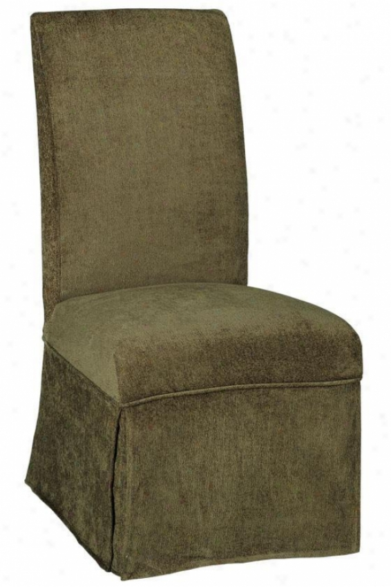 """""""parsons Side Chair Skirted Slipcover - 40.5""""""""hx20.5""""""""w, Olive Chenille"""""""