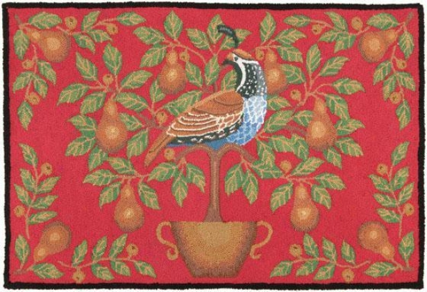 Partridge And Pear Area Rug - 27x40, Red