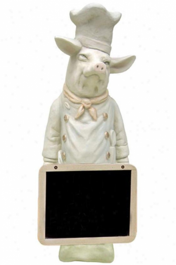 """pastry Chef Pig With Chalkboard - 24""""hx9.25""""w, Ivory"""