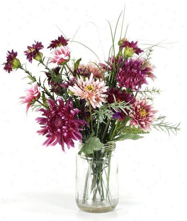 """""""patricia Floral Arrangment - 17""""""""hx3.5""""""""d, Pink/green"""""""