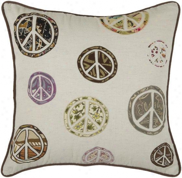 """peace Symbol Pillow - 18"""" Square, Ivory"""
