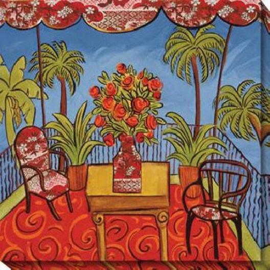 Peaceful Retreat Ii Canvas Wall Art - Ii, Red