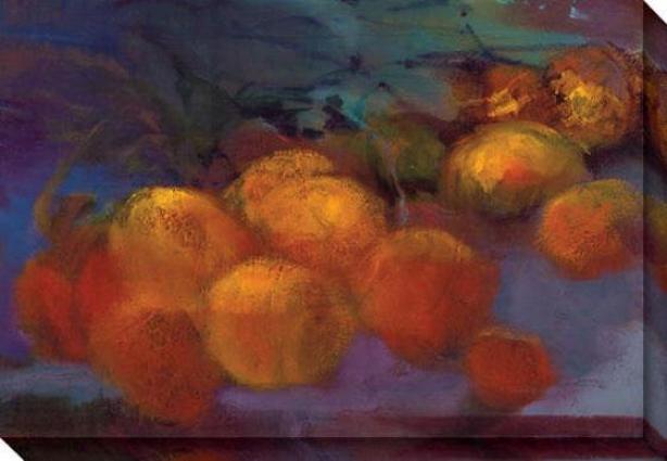 """peach Glow Canvas Wall Art - 48""""hx34""""w, Orange/purple"""