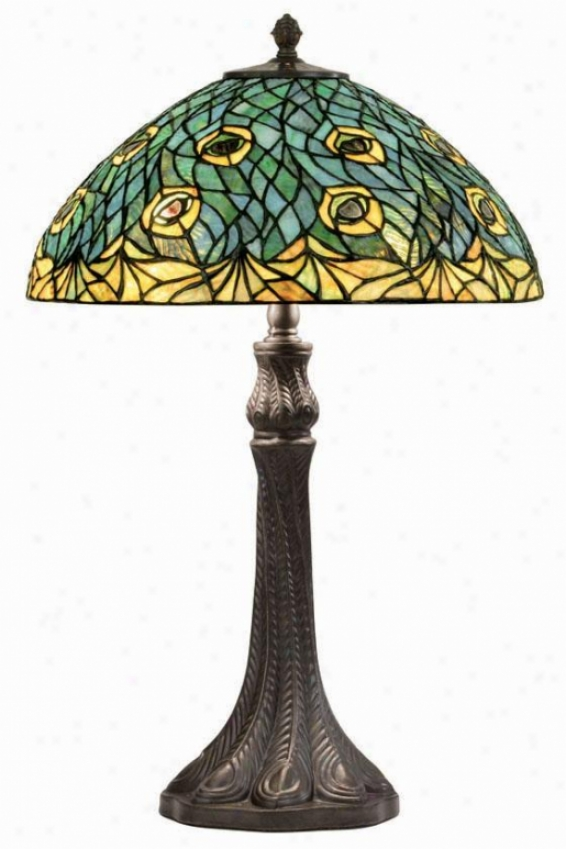 """peacock Tiffany Lamp - 25""""h X 16""""w, Brobze"""