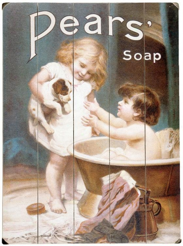 """""""pears Soap Childrens Puppy Wooden Sign - 20""""""""hx14""""""""w, Blue"""""""