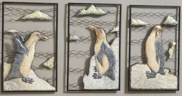 """penguins Wall Sculptures - Set Of 3 - 20""""hx13""""w, Set Of Three"""