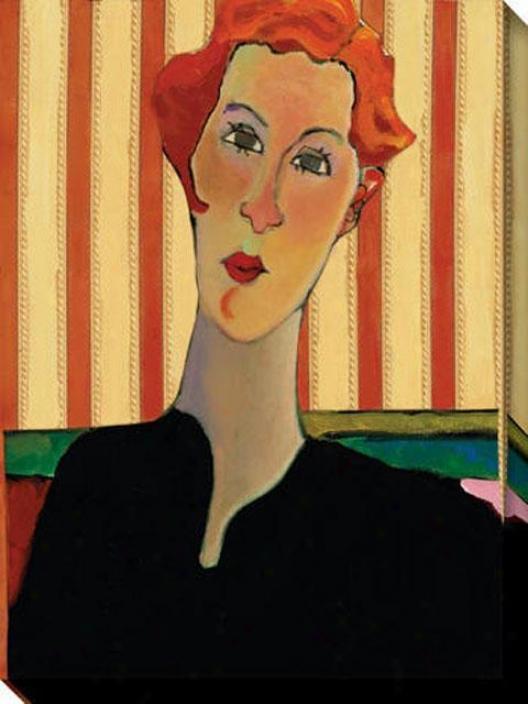 """""""pensive Stripe Redhead Canvas Wall Art - 36""""""""hx48""""""""w, Multi"""""""