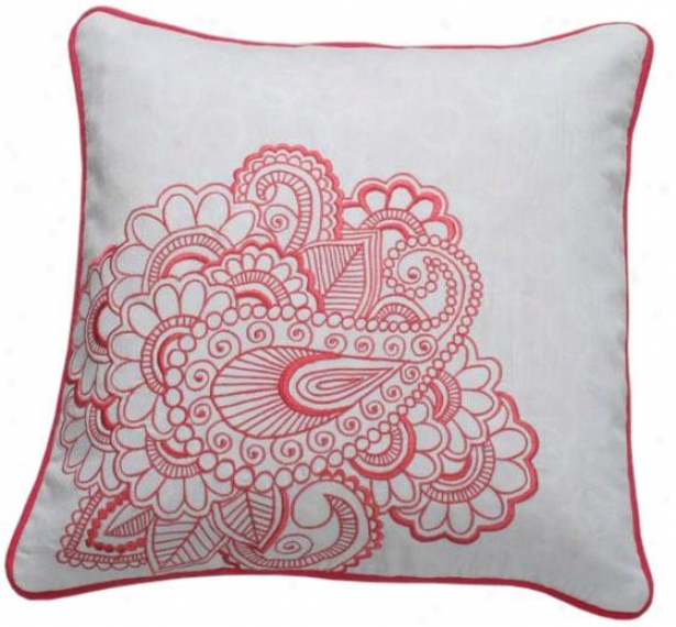 """peony Decorative Pillow - 18"""" Square, White"""