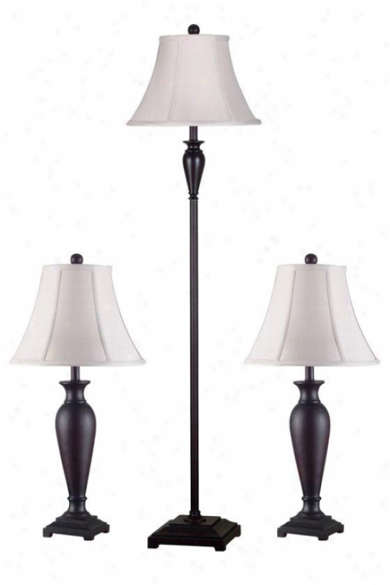 Percival Lamps - Set Of 3 - Set Of 3, Burgundy