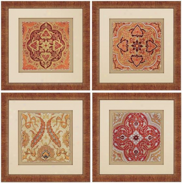 Persian Tiles Wall Art - Set Of 4 - Set Of 4, Earthtones