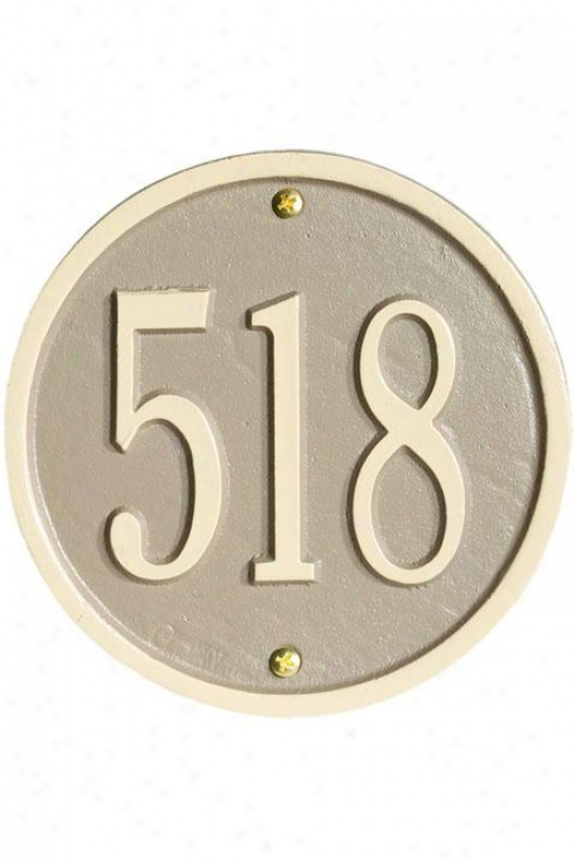 Petite Round Wall Address Plaque - One-line, Beige