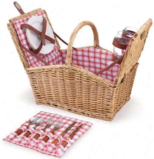 """piccadilly Willow Picnic Baslet - 14.5""""hx11.5""""w, Red"""