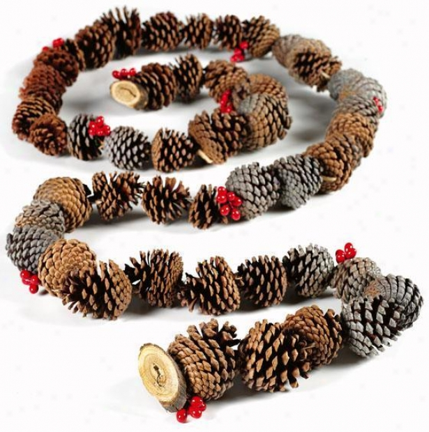 Pine Cone Garland - 9'ft, Green