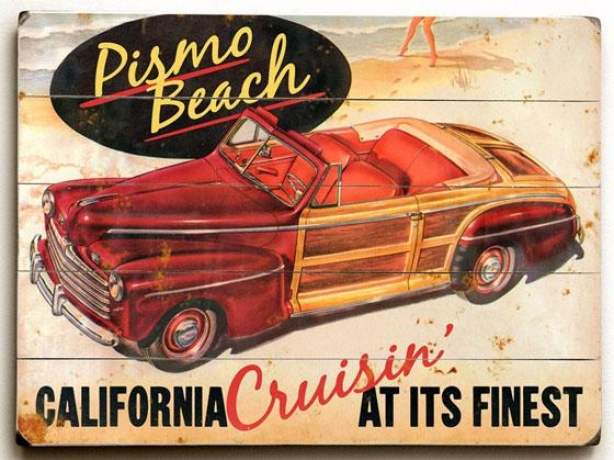 """""""pismo Beach Wooden Sign - 14""""""""h X 20""""""""w, Red"""""""