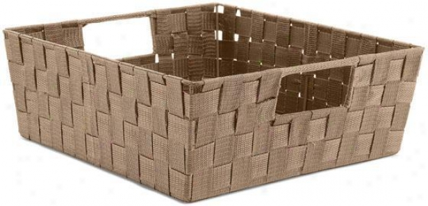 Plastic Rattan Shelf Basket - Large, Coffee