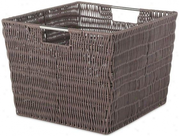 Plastic Rattan Carry - Large, Coffee