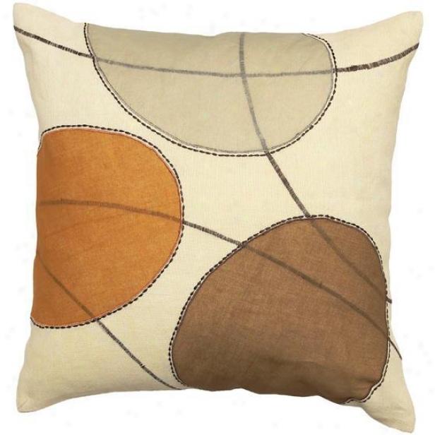 """plaza Pillows - Set Of 2 - 18""""x18"""", Beige"""