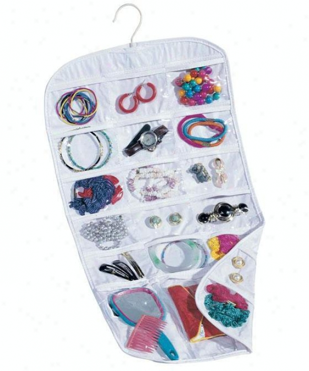 """pocket Jewelry Oryanizer - 26.75""""hx13""""w, Whlte"""