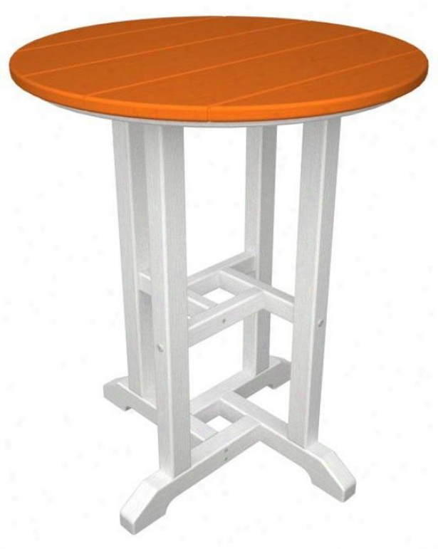 Polywood  Bistro Table - White, Orange