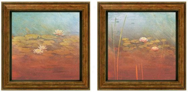 Pond Lilies Framed Wall Art - Set Of 2 - Set Of Two, Blue