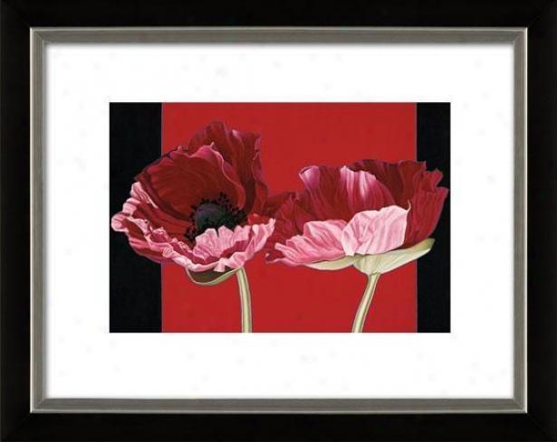 """""""poppies Framed Wall Art - 27""""""""hx33""""""""w, Mttd Black/slvr"""""""
