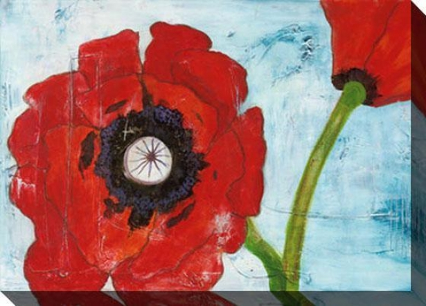 Poppies On Blue I Canvax Wall Art - I, Red