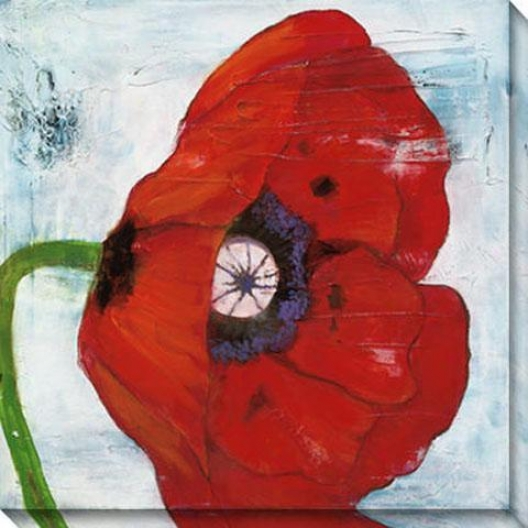 Poppies On Blue Ii Canvas Wall Art - Ii, Red