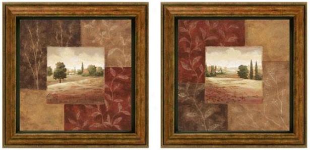 Poppy Fields Framed Wall Art - Placed Of 2 - Set Of Two, Earthtones