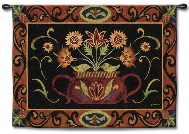 """""""potted Folk Floral Tapestry - 35""""""""hx53""""""""w, Multi"""""""