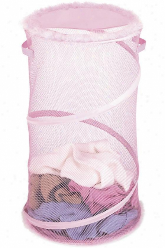"""""""pretty In Pinl Collapsible Clothes Laundry Hamper - 26""""""""hx15""""""""d, Pink"""""""