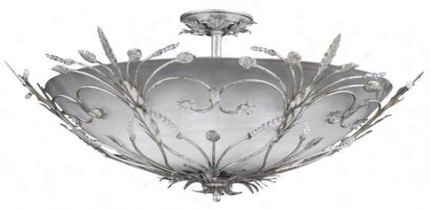 Primrose Semi-flush Bowl Mount-  6-light, Silvrr Leaf