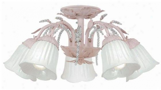Primrose Semi-flueh Mount - 5-light, Blush