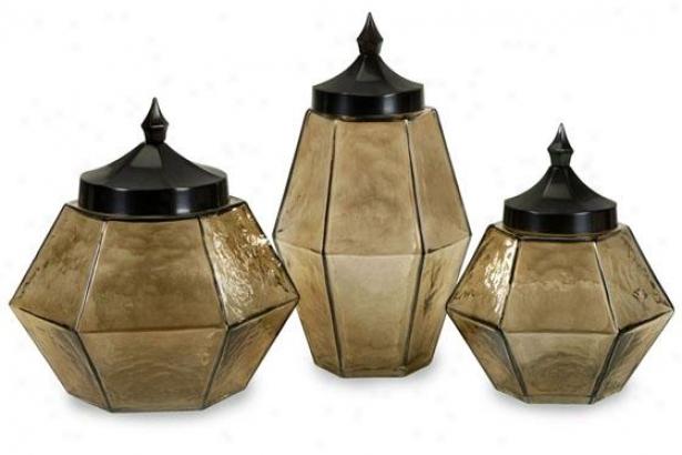 Prism Jars With Lids - Set Of 3 - Set Of-Three, Beige