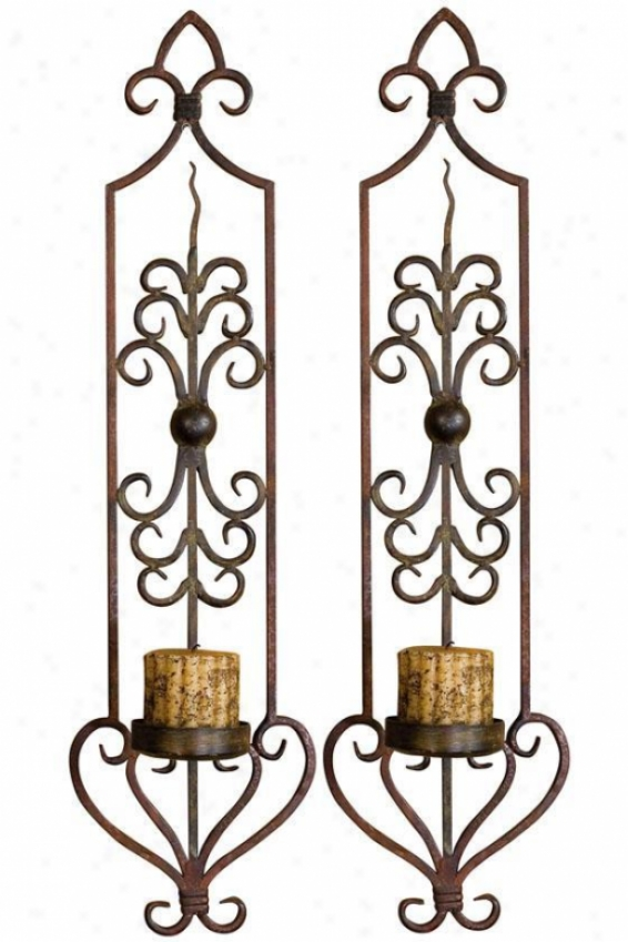"""prkvas Wall Sconces - Set Of 2 - 30""""hx8""""w, Mhgyrst/olvbrnz"""