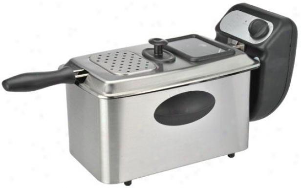 Pro Deep Fryer - 9.1hx9.1wx15.5d, Black/stainless